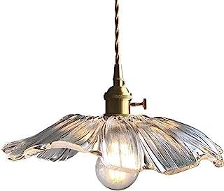 Hobaca E27 Feuille de lotus Un verre Or Le cuivre Moderne nordique Luminaires Suspensions Lampe suspendue Cuisine Appareil...