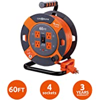 Link2Home Cord Reel 60 ft. Extension Cord 4 Power Outlets