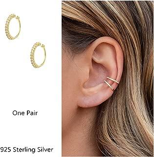 Fake Hoop Earrings CZ Cubic Zirconia Cartilage Earring 925 Sterling Silver Earrings Ear Cuff Huggie Dainty Minimal Conch Piercing Non Pierced Ear Pods Clip on Earrings for Women Girls