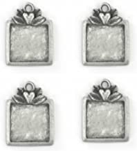 Four (4) ImpressArt Pewter Green Girl Square Stamping Blanks, Soft Strike Pewter, 1 7/8x7/8 inch Stampable Area: 3/4 x 3/4