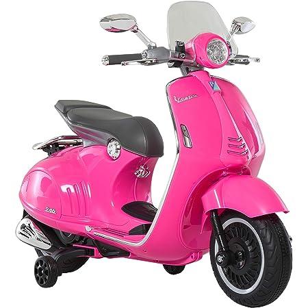 HOMCOM Moto Eléctrica Vespa Faros Música 2 Ruedas Auxiliares para Niños Mayores de 3 Años Motocicleta Infantil Autorizada 108x49x75 cm Rosa