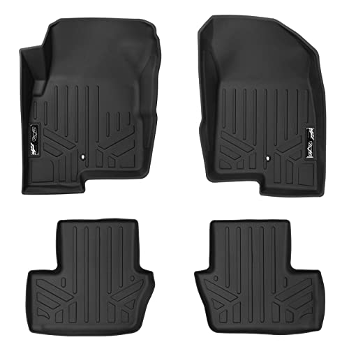 SMARTLINER Floor Mats 2 Row Liner Set Black for 2007-2012 Dodge Caliber / 2007