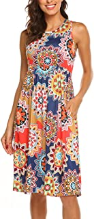 OURS Womens Summer Sleeveless Floral Print Racerback Midi...