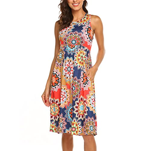 52dd978fae1f OURS Womens Summer Sleeveless Floral Print Racerback Midi Dresses with  Pocket