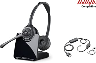 Avaya Compatible Plantronics CS520 VoIP Wireless Headset Bundle with Electronic Remote Answer|End and Ring alert (EHS) for Avaya Phones: 1600, 9600 IP Phones: 1608, 1616, 9601, 9608, 9610, 9611, 9611G, 9620, 9620C, 9620L, 9621, 9630, 9640, 9640G, 9641, 9650, 9650C, 9670