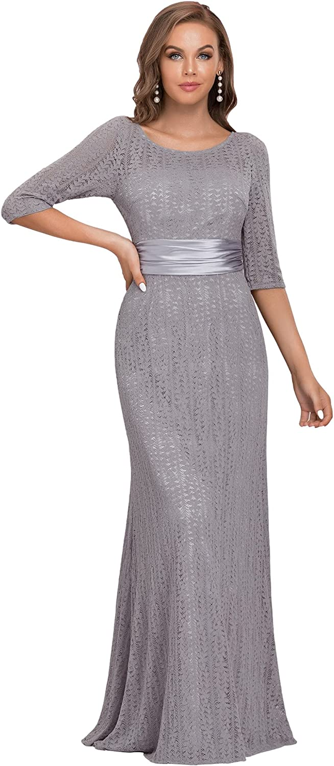 Ever-Pretty Womens A-Line Formal Slim Maxi Lace Bridesmaids Dress with Sleeve 08878