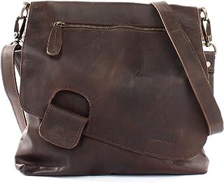 LECONI Umhängetasche Damen-Tasche Crossbag Rinds-Leder Natur Schultertasche Vintage-Look Ledertasche Frauen  Herren Handtasche aus Echt-Leder 29x29x6cm LE3027