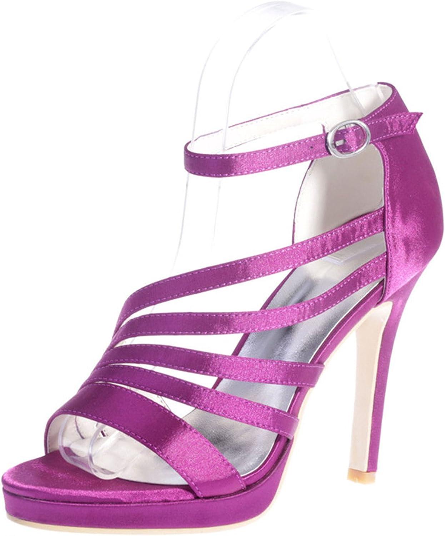 Fanciest Women's Bridal Wedding Party Evening Sandals Satin Open-Toe High Heel Pump shoes 5915-23