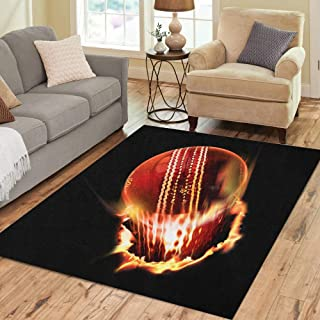 Semtomn Area Rug 5' X 7' Red Fire Cricket Ball Sport Ashes Bat Match Summer Home Decor Collection Floor Rugs Carpet for Living Room Bedroom Dining Room