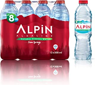 Alpin Alkaline Low Sodium Mineral Water - 500 ml (Pack of 12)