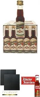 Bachmann Kräuterlikör aus Deutschland 20 x 0,02 Miniatur Box  Schiefer Glasuntersetzer eckig ca. 9,5 cm Durchmesser 2 Stück  Schierker Feuerstein Kräuter Halbbitter 30 x 2 cl