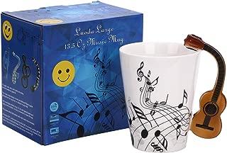 Luoda 13.5 Oz Guitar Mug Music Note Coffee Mug Ceramic Guitar Music Cup Mug Gifts for Guitar Players Musicians,Black