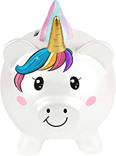 TrayClicks Unicorn Piggy Bank for Girls and Boys Ceramic Rainbow Money Saving Box for Kids and Adults Cute Decorative Coin Bank with Openable Cap Fun Adorable and Unique Birthday Gift