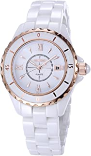 Womens Quartz Watch NAKZEN Fashion White Analogue Watches Stainless Steel Waterproof Watch with Ceramic Band and