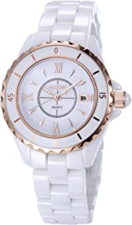 Women's Quartz Watch NAKZEN Fashion White Analogue Watches Stainless Steel Waterproof Top Brand Luxury Watch with Ceramic Band and Date Window