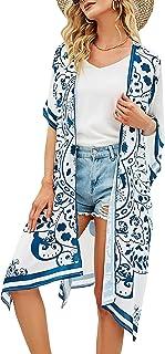 Domary Feminino Kimono Cardigan Impressão Vintage Aberto Frente Mangas Curtas Robe Grande Maiô Cobertura de Praia