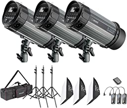 Neewer 900W Studio Strobe Flash Photography Lighting Kit:(3)300W Monolight,(3) Softbox,(3) Light Stand,(1) RT-16 Wireless Trigger,(1) Carrying Bag for Video Portrait Location Shooting(N-300W)