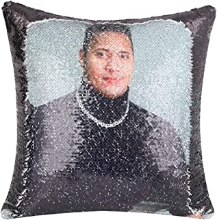 Merrycolor Turtle Neck Dwayne Johnson Funny Sequin Pillow Cover Color Change Mermaid Pillow Case Throw Cushion Cover for C...