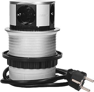 comprar comparacion Orno AE-1341(GS) Enchufe Multiple Retractible con 4 Tomas 3680W max Ø 10 cm con Cable Schuko de 1,5 m