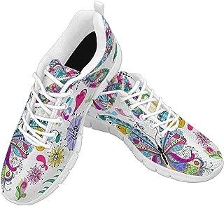 Zenzzle Women's Comfortable Sneaker Women Running Sport Shoes for Girls Colorful Butterflies Pattern Size US6-12