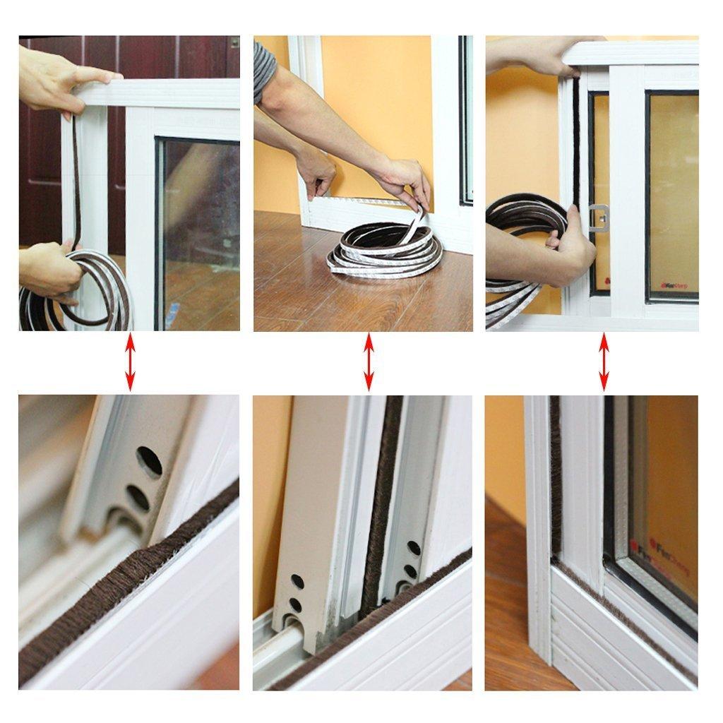 ZWOOS 2PCS Autoadhesivo Burlete Adhesivo con Cepillo para Puertas y Ventanas Espacios de 4.5 mm - 7.5 mm (2 * 5M Marrón): Amazon.es: Bricolaje y herramientas