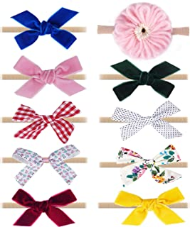 MARRDO Baby Girl Headbands and Bows,10 Pack Nylon Hairbands Hair Bow Accessories for Newborn Infant Toddler Girls