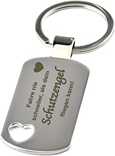 GESCHENKE-FABRIK Schlüsselanhänger mit Herzausschnitt & Gravur 'Fahre nie schneller als dein Schutzengel fliegen kann !' -...