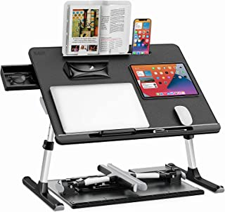 SAIJI Laptop Bed Tray Desk, Adjustable Lap Desk, Foldable Laptop Table with Storage Drawer for Eating, Working, Writing, G...