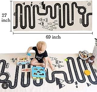 LISIBOOO Cotton Baby Infant Crawling Blanket,Play Games Floor Mat Road Adventure Racing Carpet,Kids Long Pad for Bedroom Playroom Nursery Classroom Indoor,69x27inch Rectangle Area Rugs