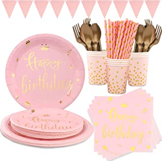 Pink Gold Birthday Party Supplies for Girls Happy Birthday Tableware Plates Cups Straws and Napkins for Happy Birthday Par...