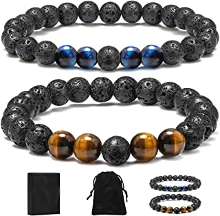 MONOZO Beaded Bracelets for Men Women - 8mm Tiger Eye Bead Bracelet Adjustable Natural Lava Rock Stone Essential Oil Anxie...