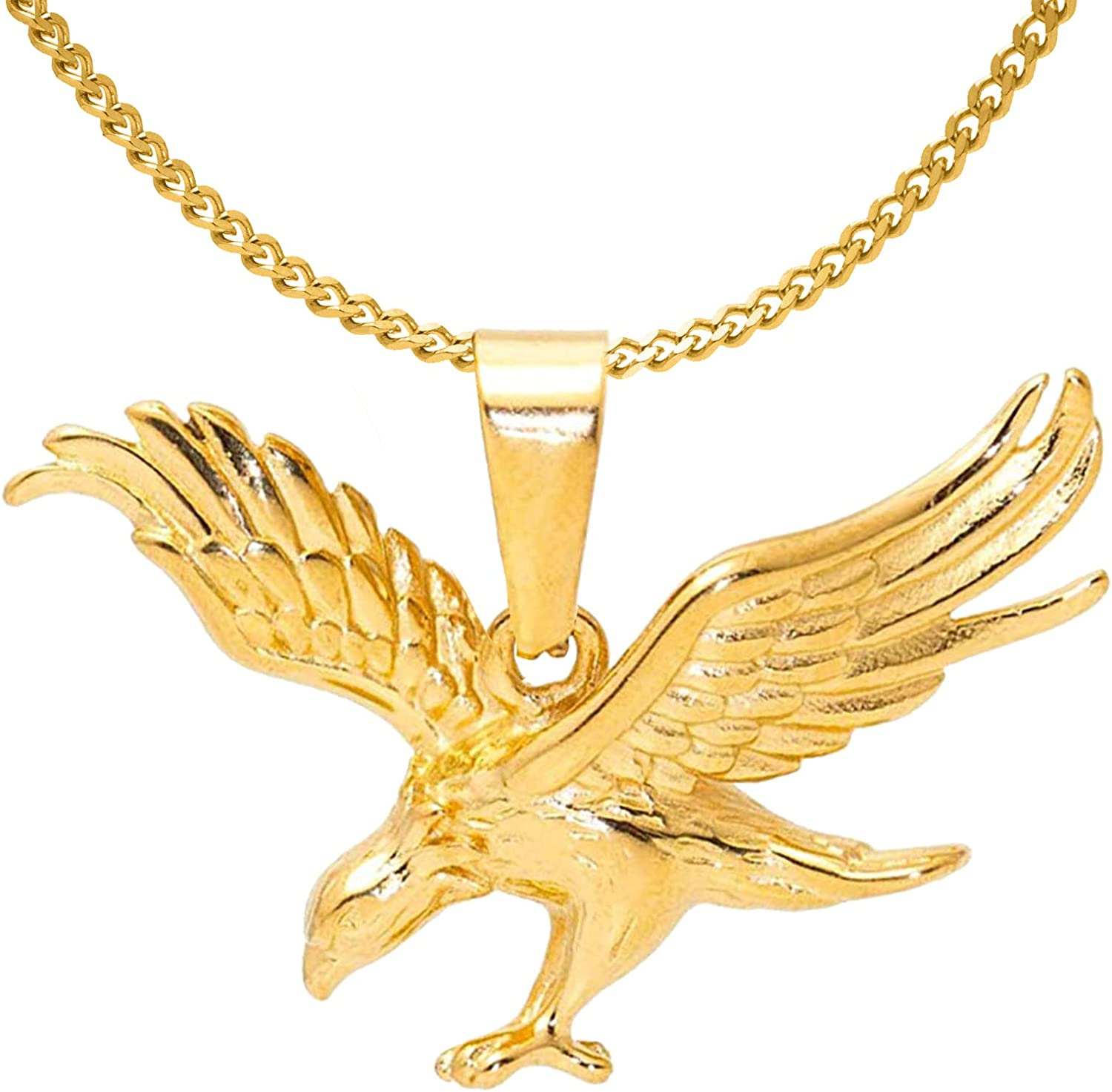 Nsitbbuery Hip Hop 18K Gold Plated Stainless Steel Animal Eagle Pendant Necklace