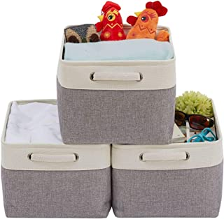 DECOMOMO Extra Large Fordable Storage Bin [3-Pack] Collapsible Sturdy Cationic Fabric Basket W/Handles for Organizing Shel...