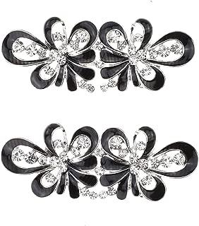 SHINYTIME 2 Pairs Vintage Diamante Crystal Flower Rhinestone Buckles Sew On Hooks and Eyes Cardigan Clip Clasps Sash Belt Rhinestone Applique Decoration (Flower)