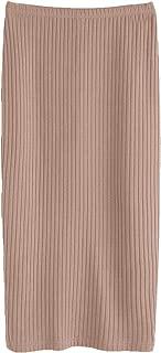 Women's Basic Plain Stretchy Ribbed Knit Split Full Length Skirt