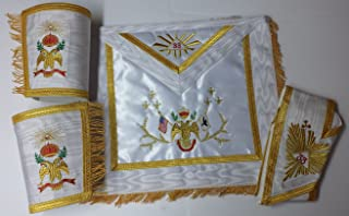 Masonic Regalia 33rd Degree Rose Croix A.A.S.R Set Apron,Collar & gauntlets Wing Down