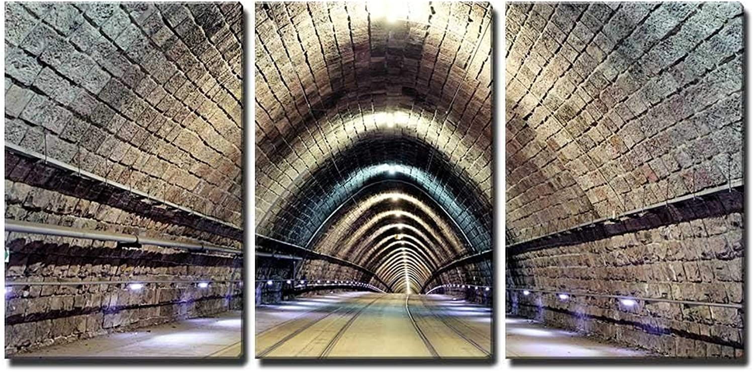 Wall26 - 3 Piece Canvas Wall Art - Tunnel with Railroad and Tram - Modern Home Decor Stretched and Framed Ready to Hang - 24 x36 x3 Panels