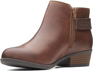 Clarks Womens Addiy Kara Leather Block Heel Ankle Boots