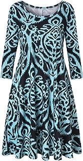 Luranee Womens Casual 3/4 Sleeve Knee Length Crew Neck Tunic Dress with Pockets