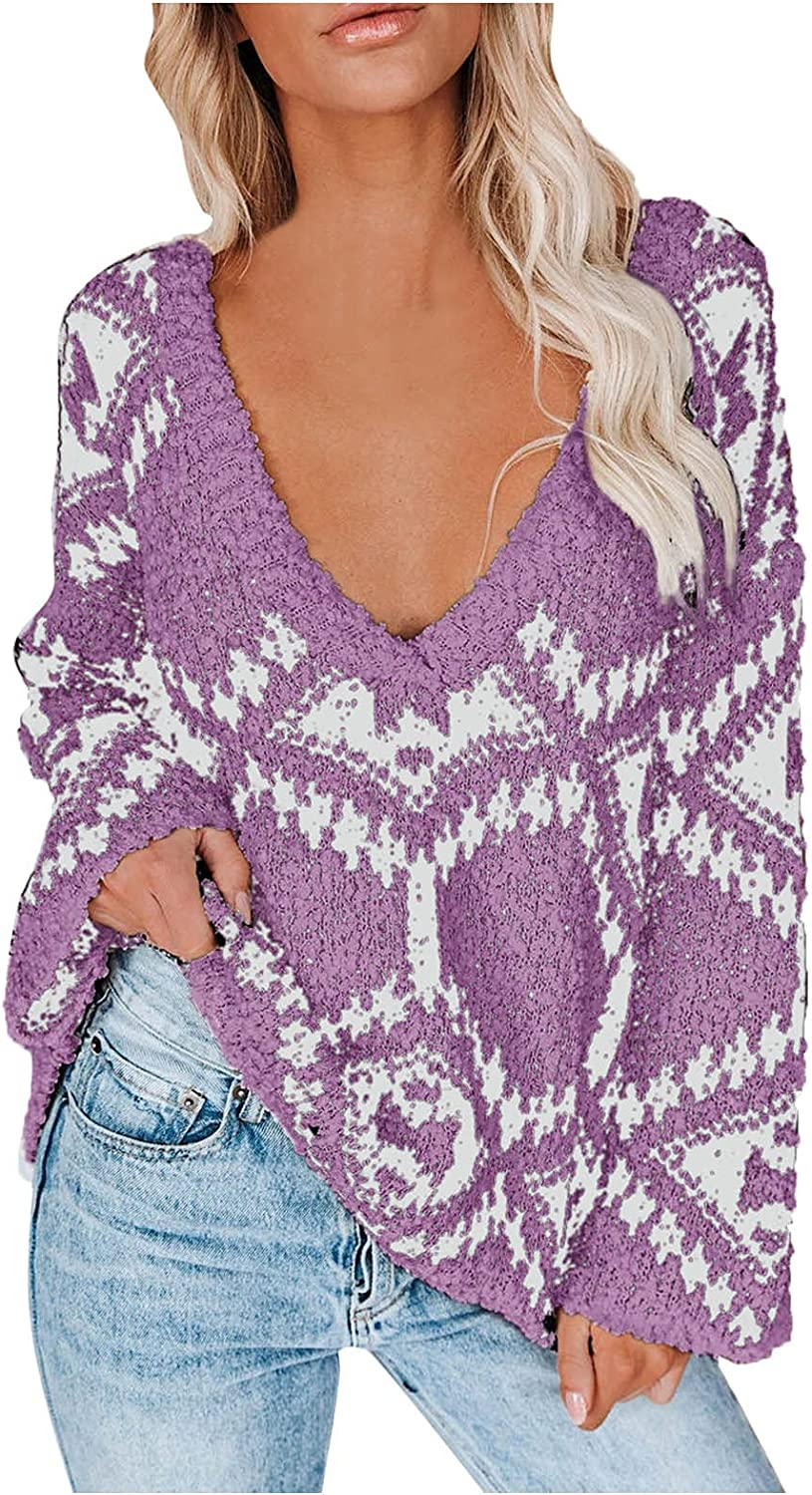 MAYW Womens Sweaters Pullover Oversized Deep V Neck Off Shoulder Tops Long Sleeves Loose Knit Sweater