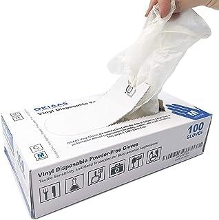 OKIAAS Guantes de Vinilo|Guantes desechables libres de látex y polvo para el cuidado de la salud,limpieza del hogar,manipulación de alimentos,trabajo de laboratorio y más|Mediano,100 unidades/caja