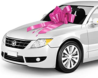 Zoe Deco Big Car Bow (Pink, 30 inch, 1 Pack) with 2 Gold Accessory Bows, Giant Presents, Girl Party, Lady Surprise Party, Wedding Reception, Birthday, Christmas Bows for Car, Gift Bow, Car Bow Giant