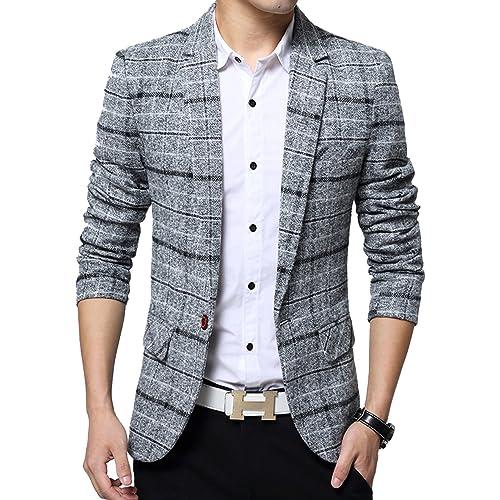 d41e9d8e1bb9f1 Men s Casual One Button Slim Fit Blazer Suit Jacket