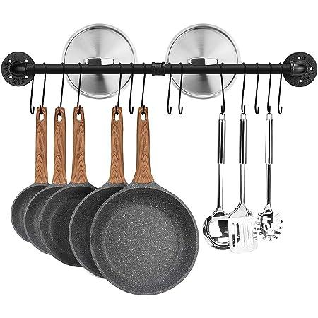 Toplife Barre de Cuisine Industrielle, 80 cm Porte Casserole Mural Cuisine, Support de Pot en Fer avec 14 Crochets pour Ustensiles, Poêlés