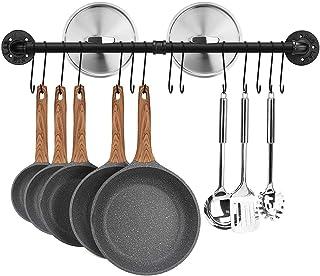 Toplife Barre de Cuisine Industrielle, 80 cm Porte Casserole Mural Cuisine, Support de Pot en Fer avec 14 Crochets pour Us...