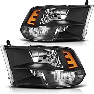 Headlight Assembly for 09-18 Dodge Ram 1500 2500 3500 Pickup QUAD Replacement Headlamp,Black Housing with Daytime Running Lamps