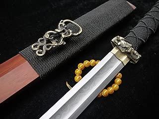 longquan sword Han jian,Hand Forged(Damascus Steel Blade,Brass Fittings,Rosewood Scabbard) Full Tang,Length 38