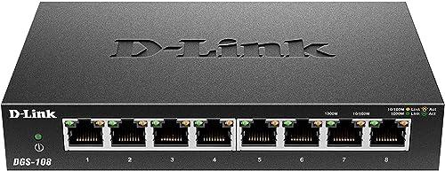 D-Link DGS-108 Switch 8 Ports Gigabit Metallique 10/100/1000mbps - Idéal Partage de Connexion et Mise en Réseau Small...