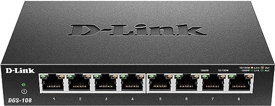 D-Link Ethernet Switch, 8 Port Gigabit Unmanaged Metal Fanless Desktop or Wall Mount..
