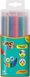 BIC Kids Coloring Pencils, Assorted Colors, Durable Case, 24-Count